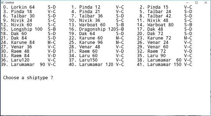 ship list